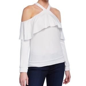 Bailey 44 cold shoulder ruffle top